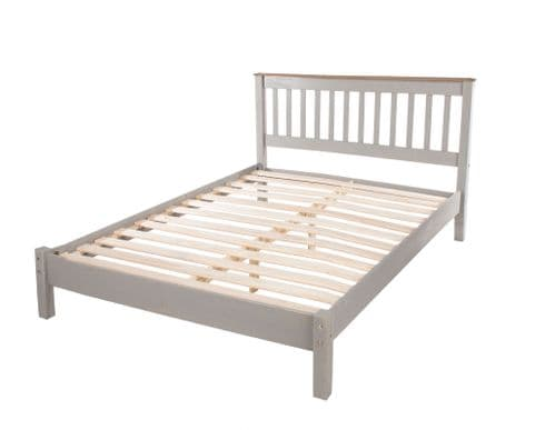 Puebla Grey Waxed Pine 4'6 Slatted Low End Bedstead CRG460LE