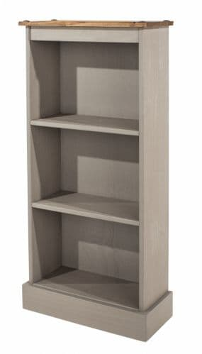 Puebla Grey Waxed Pine Low Narrow Bookcase CRG948