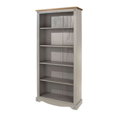 Puebla Grey Waxed Pine Tall Bookcase CRG924