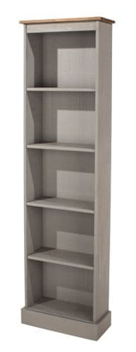 Puebla Grey Waxed Pine Tall Narrow Bookcase CRG946