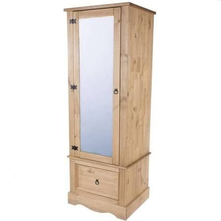 Puebla Waxed Pine Armoire with Mirrored Door CR525