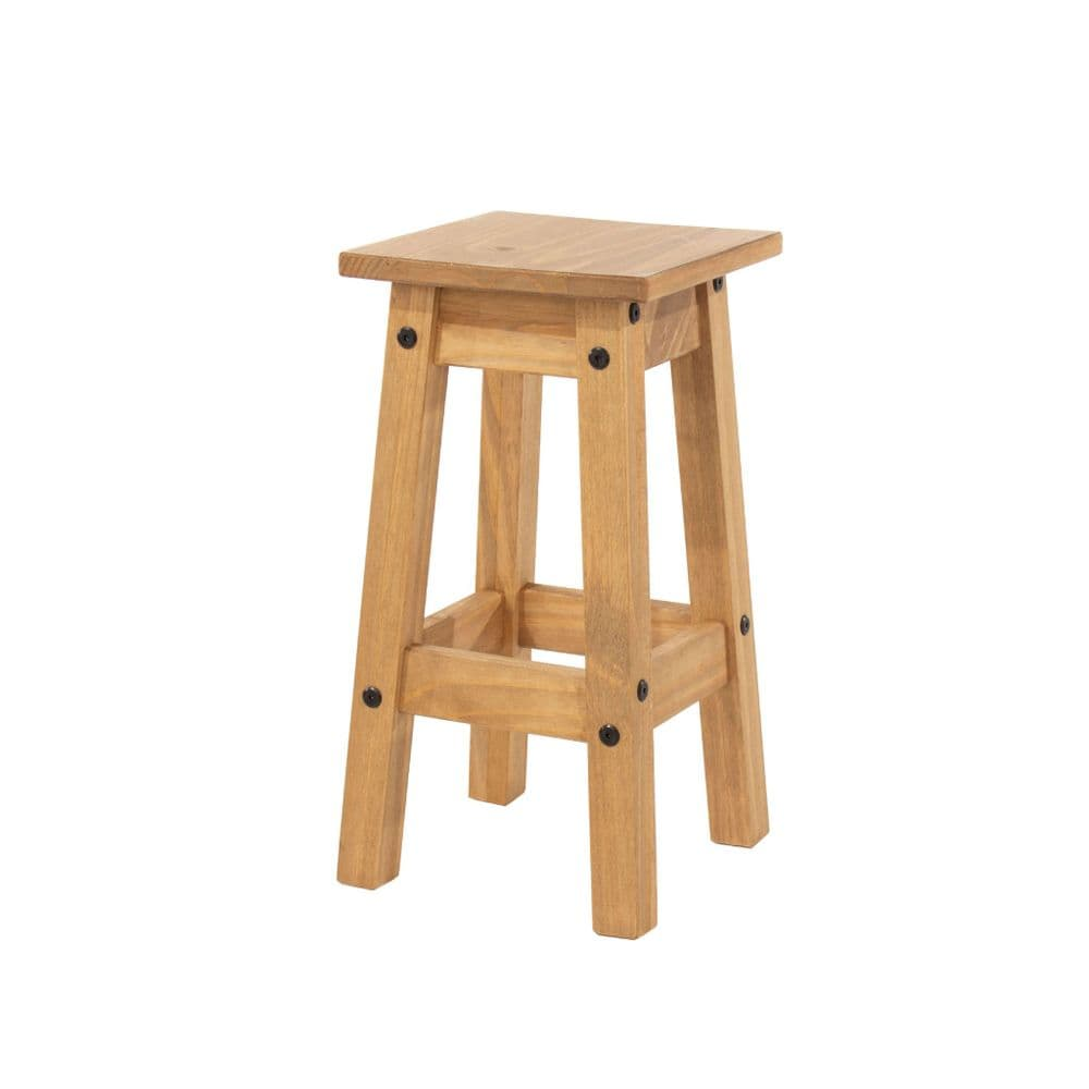 Puebla Waxed Pine Low Kitchen Stool CR106 (Pair)