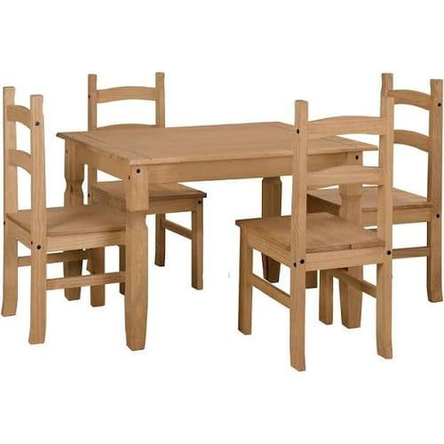 Puebla Waxed Pine Small Rectangular Dining Table & 4 Chair Set CRTBSET2
