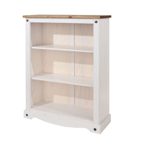 Puebla White Waxed Pine Low Bookcase CRW712
