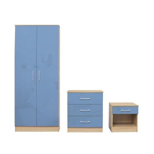 Puteaux Blue And Oak Bedroom Set 19LD321
