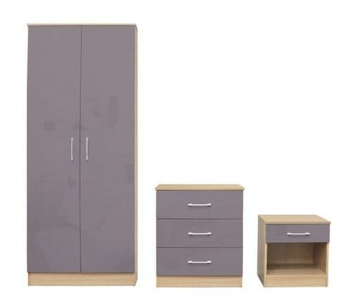 Puteaux Grey And Oak Bedroom Set 19LD322
