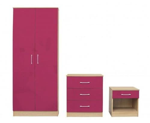 Puteaux Pink And Oak Bedroom Set 19LD323