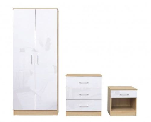 Puteaux White And Oak Bedroom Set 19LD324