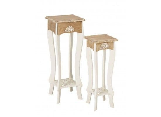 Rennes Soft White And Cream Set Of 2 Tall Lamp Tables 17LD383