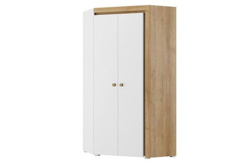 Riva Matt White With Riviera Oak Effect 2 Door Corner Wardrobe SZRI11