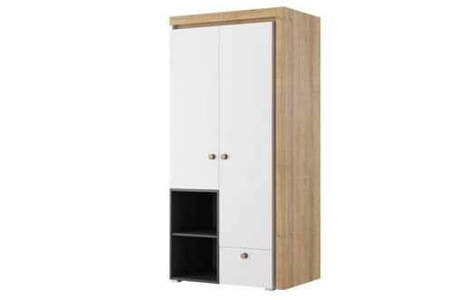 Riva Matt White With Riviera Oak Effect 2 Door Wardrobe SZRI02