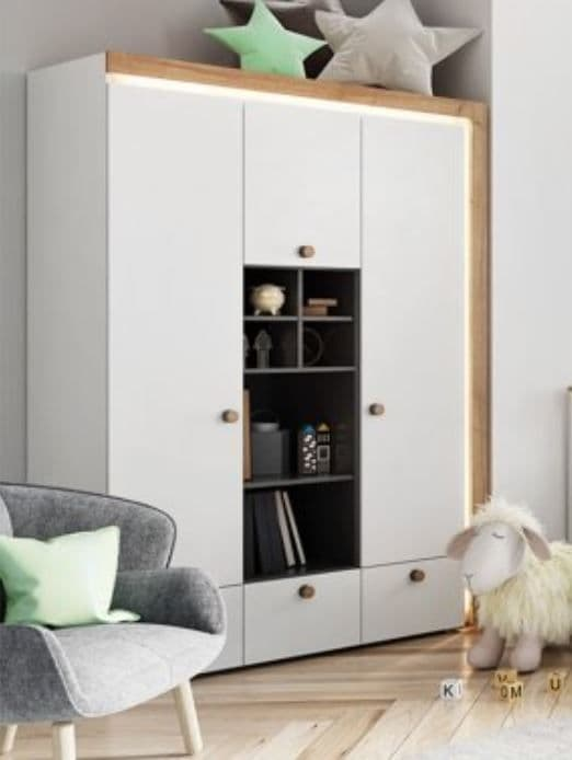 Riva Matt White With Riviera Oak Effect 3 Door Wardrobe RIVA01