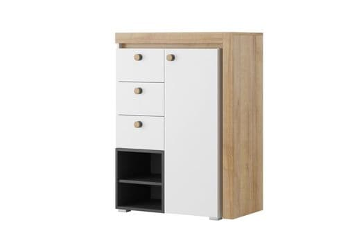 Riva Matt White With Riviera Oak Effect Chest of Drawer Dresser SZR04