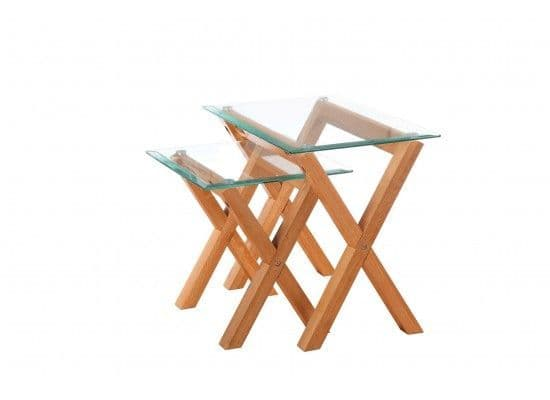 Rocroi Stylish Solid Oak Nest Of 2 Tables 17LD336