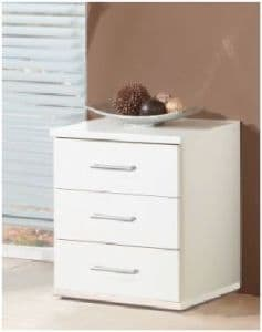Roma White 3 Drawer Bedside Chest - FurnitureFactor UK