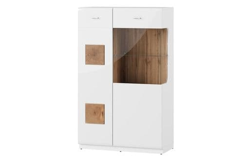 Runke High White Gloss And Oak Effect 2 Door Low Display Cabinet SZYWO15