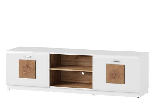 Runke High White Gloss And Oak Effect TV Cabinet Unit SZYWO25