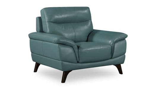 Salerno Petrol Blue Leather 1 Seater Sofa 18VD285