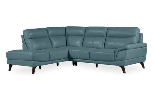 Salerno Petrol Blue Leather Left Corner Suite 18VD291