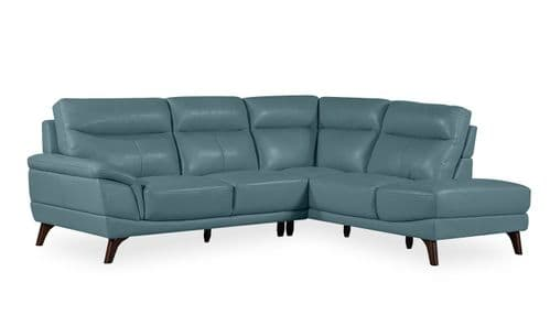 Salerno Petrol Blue Leather Right Corner Suite 18VD293