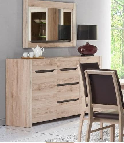 Selby Light Oak Effect 2 Door 4 Drawer Wide Sideboard SZDJ10