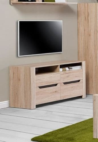 Selby Light Oak Effect Tall TV Cabinet Unit SZDJ21
