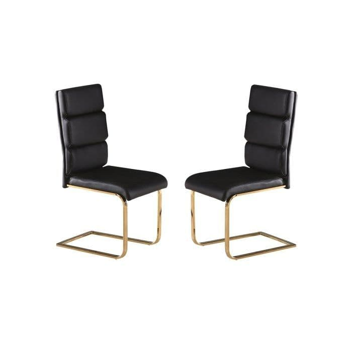 Senlis Black Faux Leather With Polished Gold Dining Chair (Pair) 19LD497