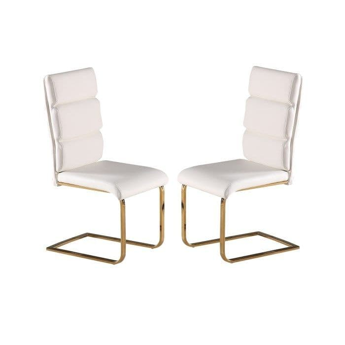 Senlis White Faux Leather With Polished Gold Dining Chair (Pair) 19LD496