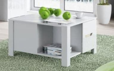 St Albans White High Gloss & Oak Effect 2 Drawer Coffee Table SZIC41