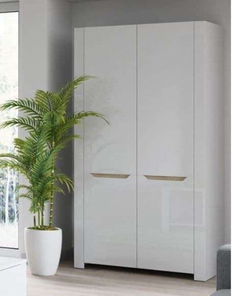 St Albans White High Gloss & Oak Effect Double Wardrobe SZIC05