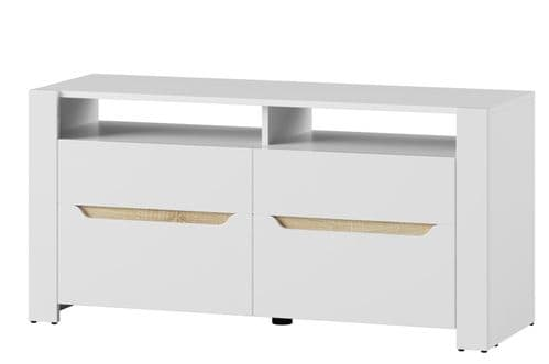 St Albans White High Gloss & Oak Effect TV Cabinet 118cm SZIC21