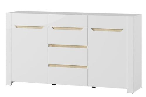 St Albans White High Gloss & Oak Effect Wide Sideboard Storage Unit SZIC10