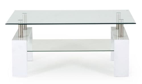 Stabia White Tempered Glass Coffee Table 18VD185