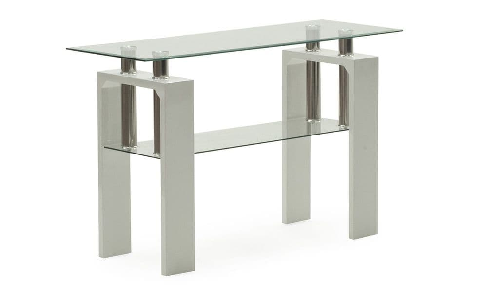 Stabia White Tempered Glass Console Table 18VD187