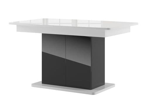 Star High Gloss White & High Gloss Black Extending Dining Table SZST03