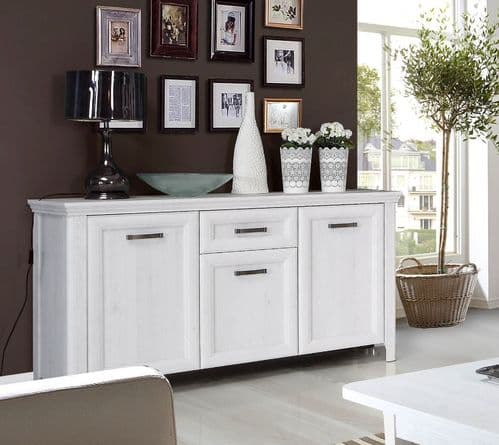 Sydney White Oak Wood Effect Large Sideboard With 3 Doors & 1 Drawer- AXDK231-D50