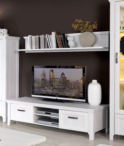 Sydney White Oak Wood Effect TV Cabinet With 2 Doors and 2 Open Shelves - AXDT131-D50