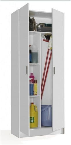 Tall White 2 Door Utility Universal Storage Cupboard White 7142O