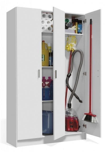 Tall White 3 Door Universal Storage Cabinet with Doors Cupboard ARM3P