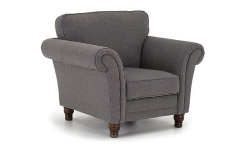 Teramo Grey Chenille Fabric 1 Seater Sofa 18VD73