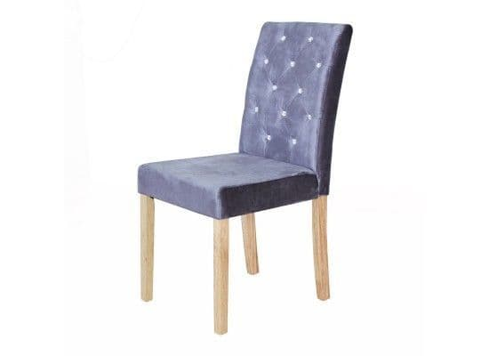 Thionville Silver Crushed Velvet Set Of 2 Dining Chairs 17LD458