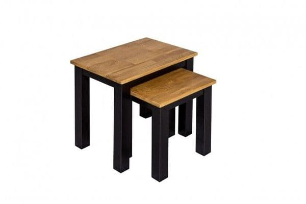 Thonon Black Frame With Oiled Wood Nest Of Tables 19LD373