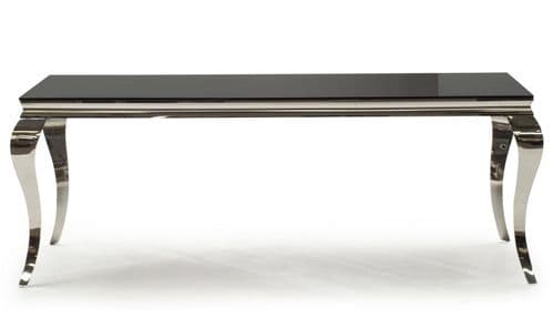 Tivoli Black Tempered Glass With Polished Metal 200cm Dining Table 218VD608