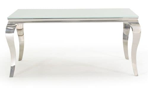 Tivoli White Tempered Glass With Polished Metal 160cm Dining Table 218VD609