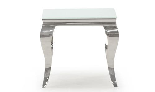 Tivoli White Tempered Glass With Polished Metal Lamp Table 218VD622