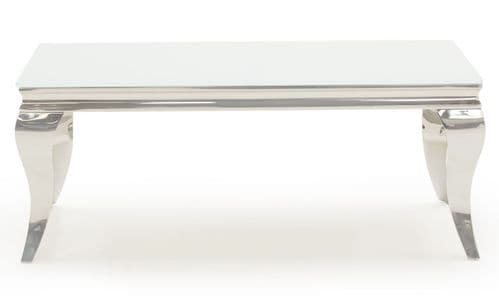 Tivoli White Tempered Glass With Polished Metal Small Coffee Table 218VD617