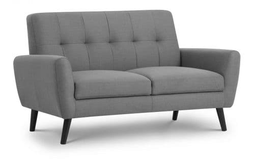 Tomelloso Retro Mid-Grey Linen Fabric 2 Seater Sofa 18JB369
