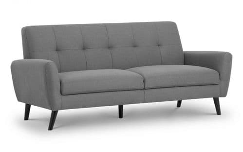 Tomelloso Retro Mid-Grey Linen Fabric 3 Seater Sofa 18JB370