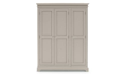 Torre Taupe Panelled Large 3 Door Wardrobe 218VD330