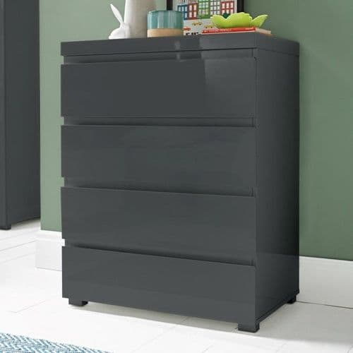 Troyes Charcoal High Gloss 4 Drawer Chest 19LD84